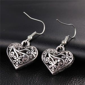 Antiqued Silver Filigree Heart Dangle Earrings